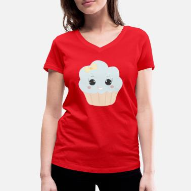 Beady Eyes Cute muffin with ribbon button eyes gift - Women's Organic V-Neck T-Shirt
