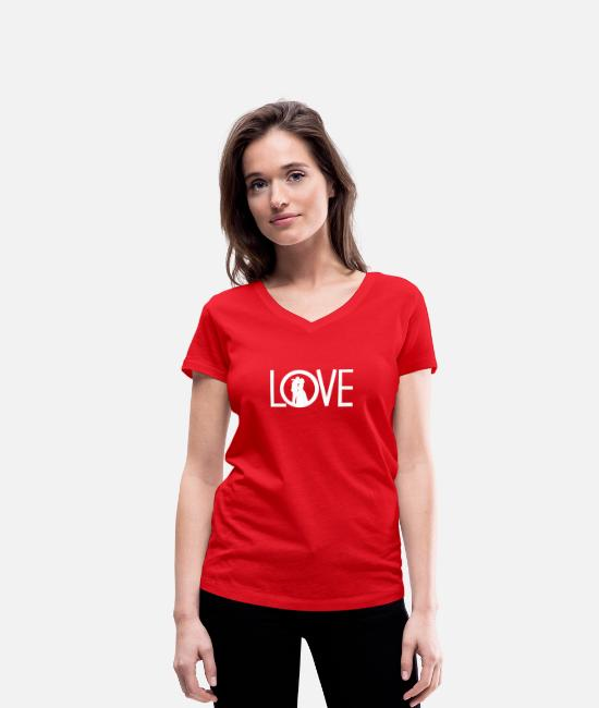 Heart T-Shirts - love - Women's Organic V-Neck T-Shirt red