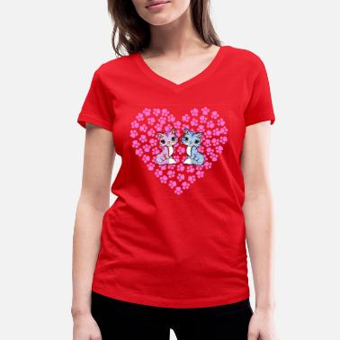 Print Two Hearts Heart with paw prints and two cats in love - Women's Organic V-Neck T-Shirt