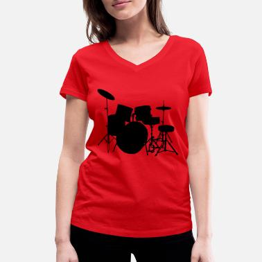 Piano music drumset drum - Women's Organic V-Neck T-Shirt