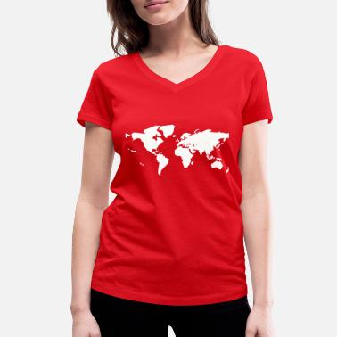 World white world map - Women's Organic V-Neck T-Shirt