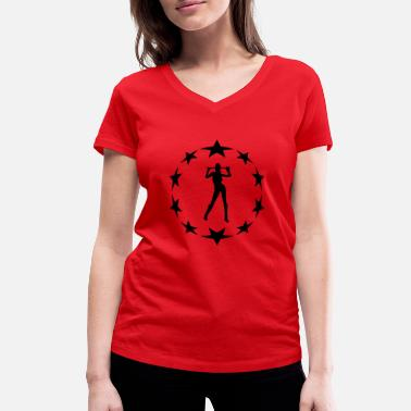 Circle Underwear stars wreath special - Women's Organic V-Neck T-Shirt