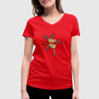 funny dancing moose reindeer - Women's Organic V-Neck T-Shirt by Stanley & Stella