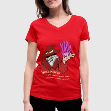 Willpower Wizard Red / Purple Flame - Women's Organic V-Neck T-Shirt by Stanley & Stella