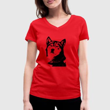 Drawing Husky in black white - Women's Organic V-Neck T-Shirt by Stanley & Stella