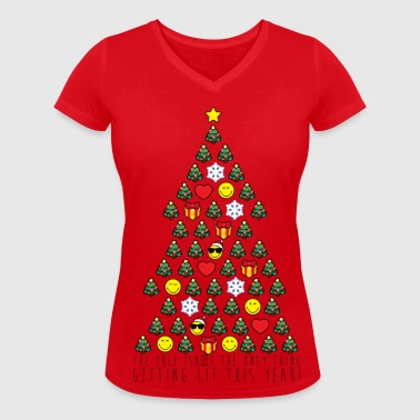 Smiley World Sapin De Noël Citation - T-shirt bio col V Stanley & Stella Femme