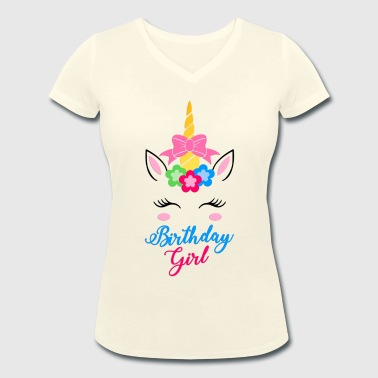 Birthday Girl - Unicorn -Gift - Women's Organic V-Neck T-Shirt by Stanley & Stella