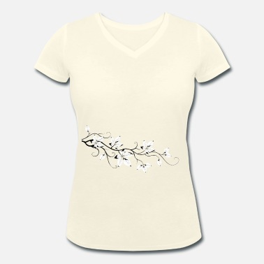 Lotus Blossom Blätterast. The blossom. Lotus style. - Women's Organic V-Neck T-Shirt by Stanley & Stella