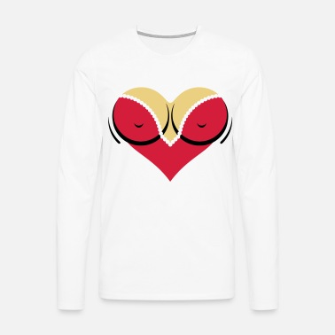 Cleavage Heart-shaped woman s breasts with deep cleavage - Men's Premium Longsleeve Shirt