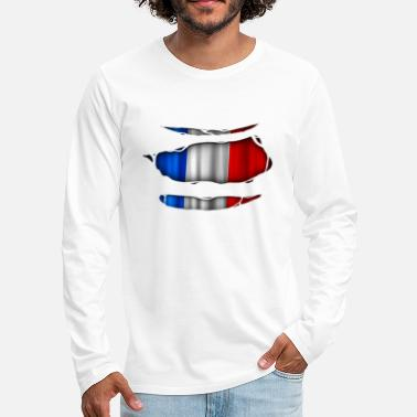 Torn France flag torn 017 - Men's Premium Longsleeve Shirt