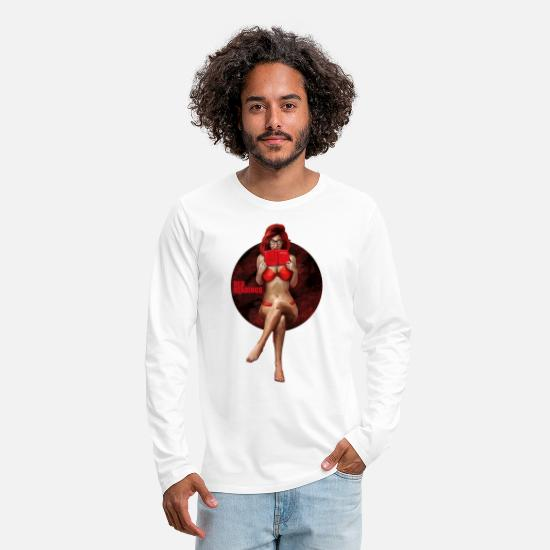 Red Long sleeve shirts - Red Readings - Men's Premium Longsleeve Shirt white