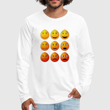 Emoticon Gesicht Emotionen Geschenk - Premium langermet T-skjorte for menn