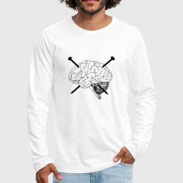 brain, nails, nail, drawing - Men's Premium Longsleeve Shirt