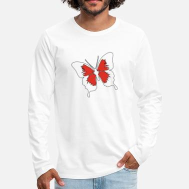 Butterfly red white summer garden nature - Men's Premium Longsleeve Shirt