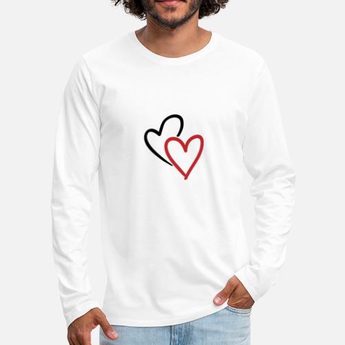 Zwei Ineinander Verschlungene Herzen In Rot Männer Premium