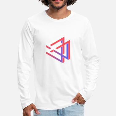 Trippy Triangle Gradient Geometry Perspective Illusion - Men's Premium Longsleeve Shirt