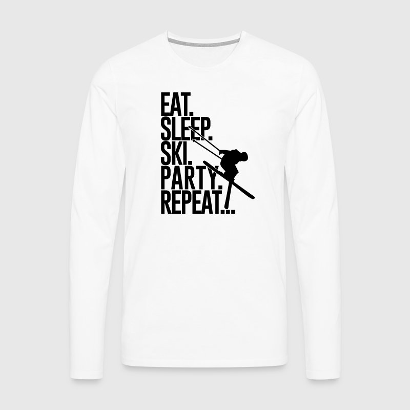 Eat. Sleep. Ski. Party. Repeat... - Mannen Premium shirt met lange mouwen