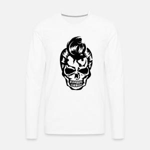 Un crâne avec une coiffure des années 50 T-shirt rétro Homme ... e0addcb33ce7