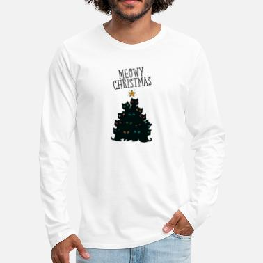 Christmas Meowy Christmas - Cat Christmas Tree - T-shirt manches longues premium Homme