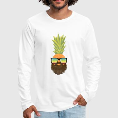 Hipster Pineapple Hipster With Beard And Sunglasses - Men's Premium Longsleeve Shirt
