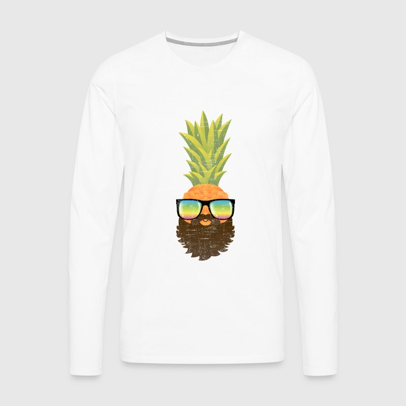 Pineapple Hipster With Beard And Sunglasses - Men's Premium Longsleeve Shirt