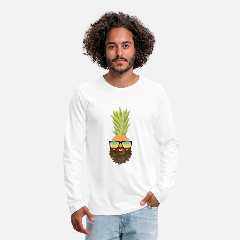 Hipster Long Sleeve Shirts - Pineapple Hipster With Beard And Sunglasses - Men's Premium Longsleeve Shirt white