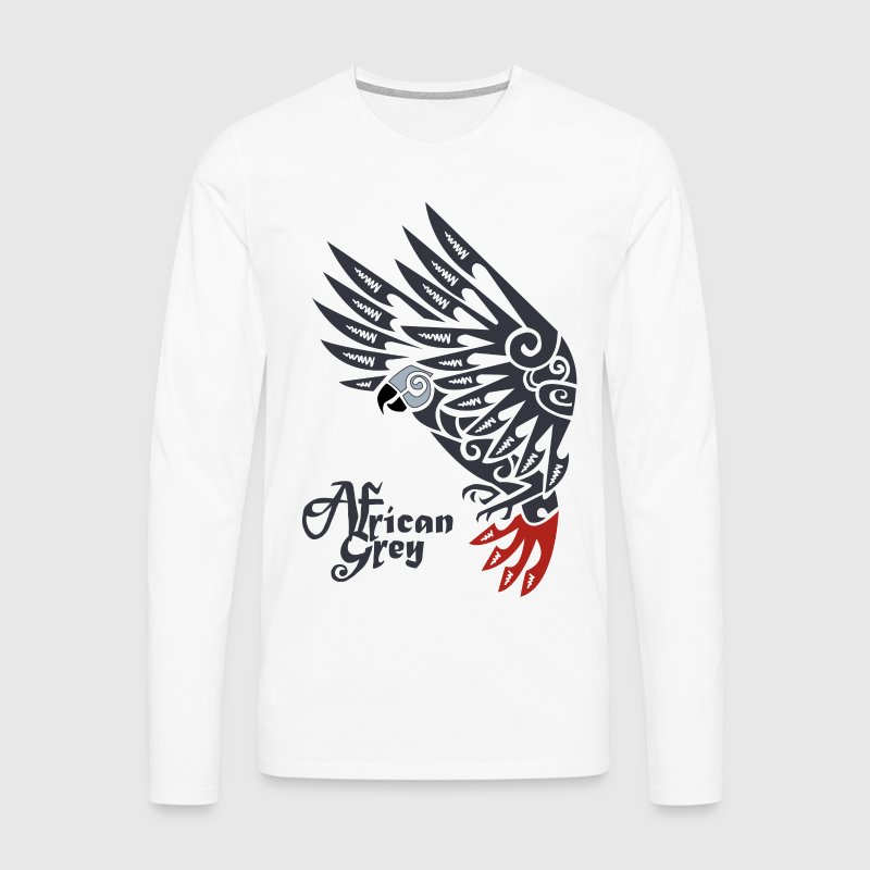 African grey parrot tribal tattoo - Men's Premium Longsleeve Shirt
