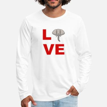 Comics love elephant, cartoon, head, gift idea - Men's Premium Longsleeve Shirt