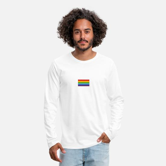 Gay Manches longues - rainbow Flag - T-shirt manches longues premium Homme blanc