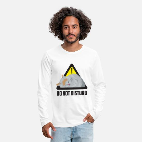 Birthday Long sleeve shirts - Do not disturb cat - poster - Men's Premium Longsleeve Shirt white