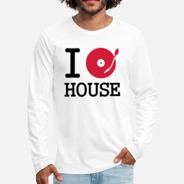 Vinyl I dj / play / listen to house - Premium langermet T-skjorte for menn