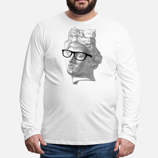 09dc195ede93b Apoll Brille Nerd Geek Zeichnung Collage Männer Premium Langarmshirt ...