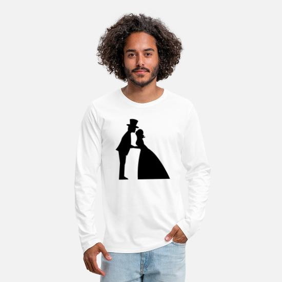 Birthday Long sleeve shirts - a wedding kiss man and woman formal dress top hat - Men's Premium Longsleeve Shirt white