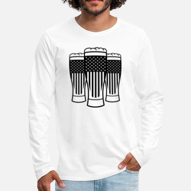 Alcoholic party friends usa america united states beer glass - Men's Premium Longsleeve Shirt