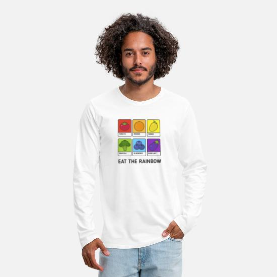 Gift Idea Long sleeve shirts - Vegetarian / vegan shirt. Eat the rainbow, no - Men's Premium Longsleeve Shirt white