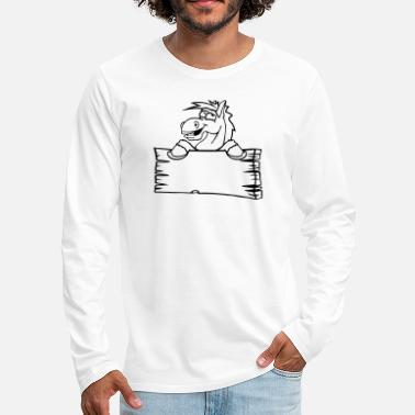 Holzschild holzschild funny comic cartoon horse wall shield t - Men's Premium Longsleeve Shirt