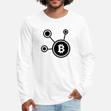 Crypto Bitcoin, Symbol, Sign, Ticker, BTC, Blockchain - T-shirt manches longues premium Homme