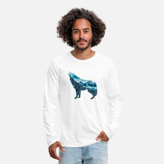 Mountain Maglie a maniche lunghe - The wolf and the mountain - Maglietta maniche lunghe premium uomo bianco
