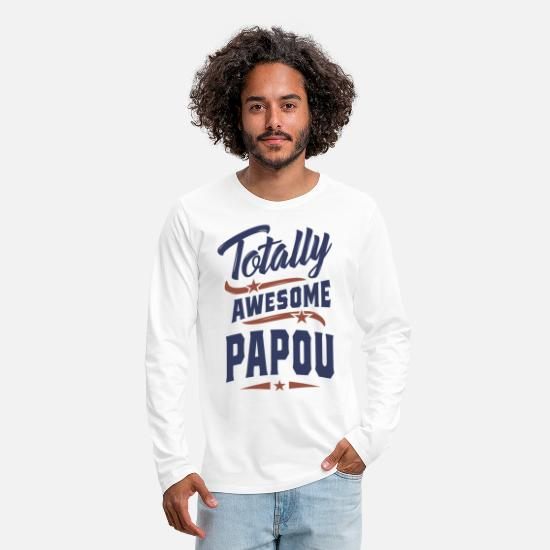 Father's Day Long sleeve shirts - Totally Awesome Papou - Men's Premium Longsleeve Shirt white