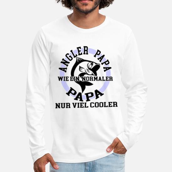 Angler Papa wie ein norma Männer Premium Langarmshirt Weiß