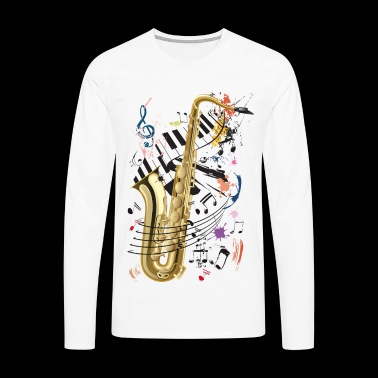 Sax, piano and notes - Men's Premium Longsleeve Shirt