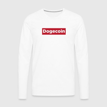 Dogecoin Red Rectangle- Blockchain Cryptocurrency - Men's Premium Longsleeve Shirt