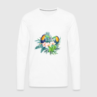 Toucan Tropical Floral - Men's Premium Longsleeve Shirt