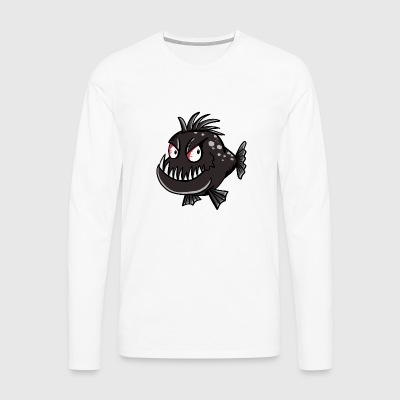 Mr. Piranha - Fish - Fishing - Angler - Comic - Men's Premium Longsleeve Shirt