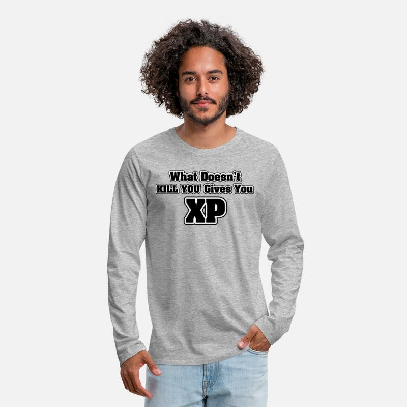 Jeu Manches longues - What doesn't kill you gives you XP - T-shirt manches longues premium Homme gris chiné