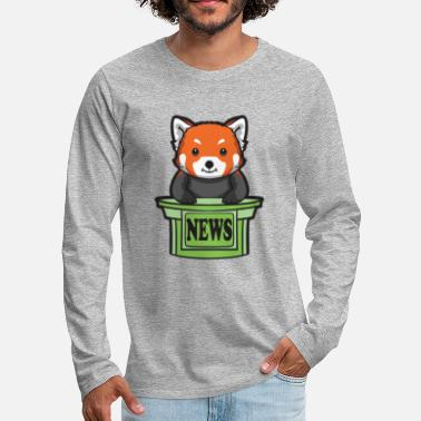 Presenteren Red Panda News Presenter - Mannen Premium shirt met lange mouwen
