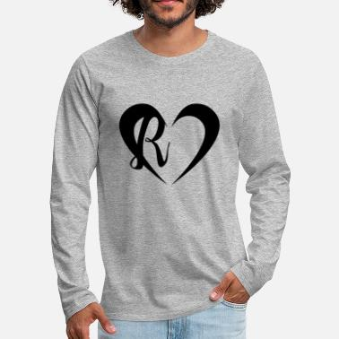 Initial Heart with letter R - Men's Premium Longsleeve Shirt
