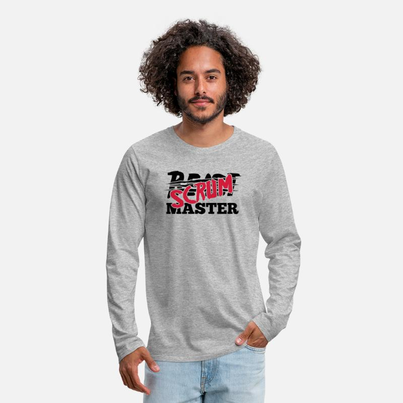 Mobile Long Sleeve Shirts - Beast Scrum Master - Men's Premium Longsleeve Shirt heather grey
