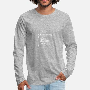 Code Whilealive eat; sleep; code; - T-shirt manches longues Premium Homme