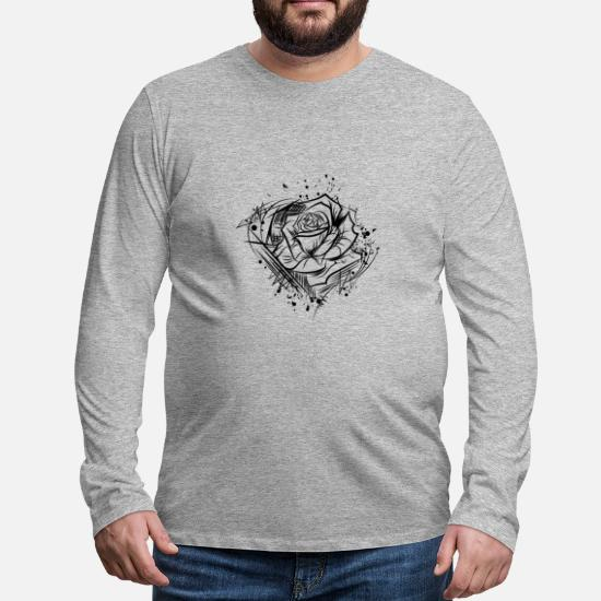 Rose Zeichnung Natur Cool Tattoo Idee Männer Premium Langarmshirt